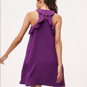 LOFT Dresses - LOFT Purple Ruffle Swing Back Dress